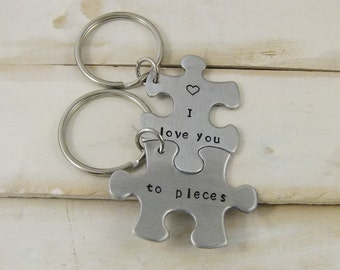 I love you to pieces keychain, Puzzle Piece Keychain, Personalized Keychain Set, Couples Keychains