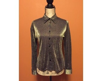 Luxe Metallic Golden Collared Button Up Shirt >> Gold Blouse << Button Up Gold Shirt >> Sparkle Top - Disco Fever - Shiny Top <<