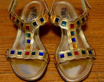 Gold jeweled sandals