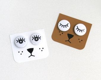 Set of 4 pinback buttons: 2 eyes shut + 2 eyes wide open. Free Shipping!