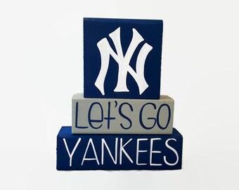 New York Yankees Baseball WoodenBlock Shelf Sitter Stack