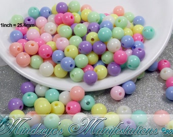 100 Opaque Acrylic Pastel Gumball Beads 8mm