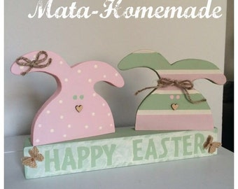 Easter wooden decorations, handmade, 29cm long