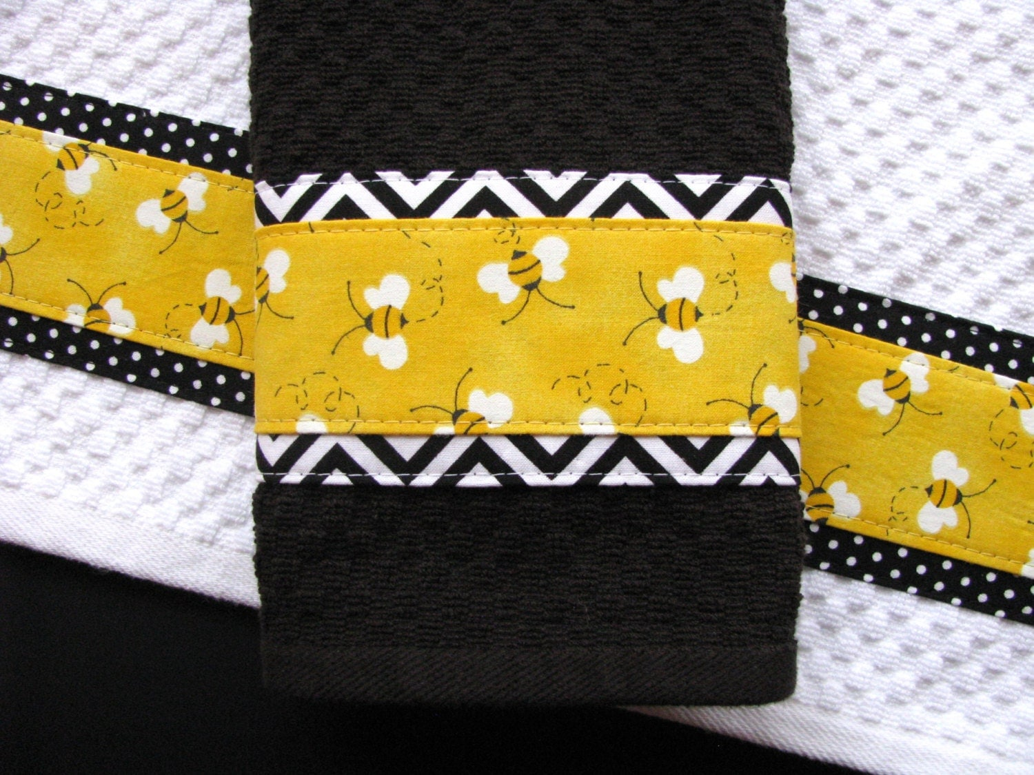 Ready to ship bee hand towels yellow black kitchen towels etsy