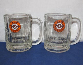 A&W ROOT BEER Mugs with Arrow Logo Set of 2