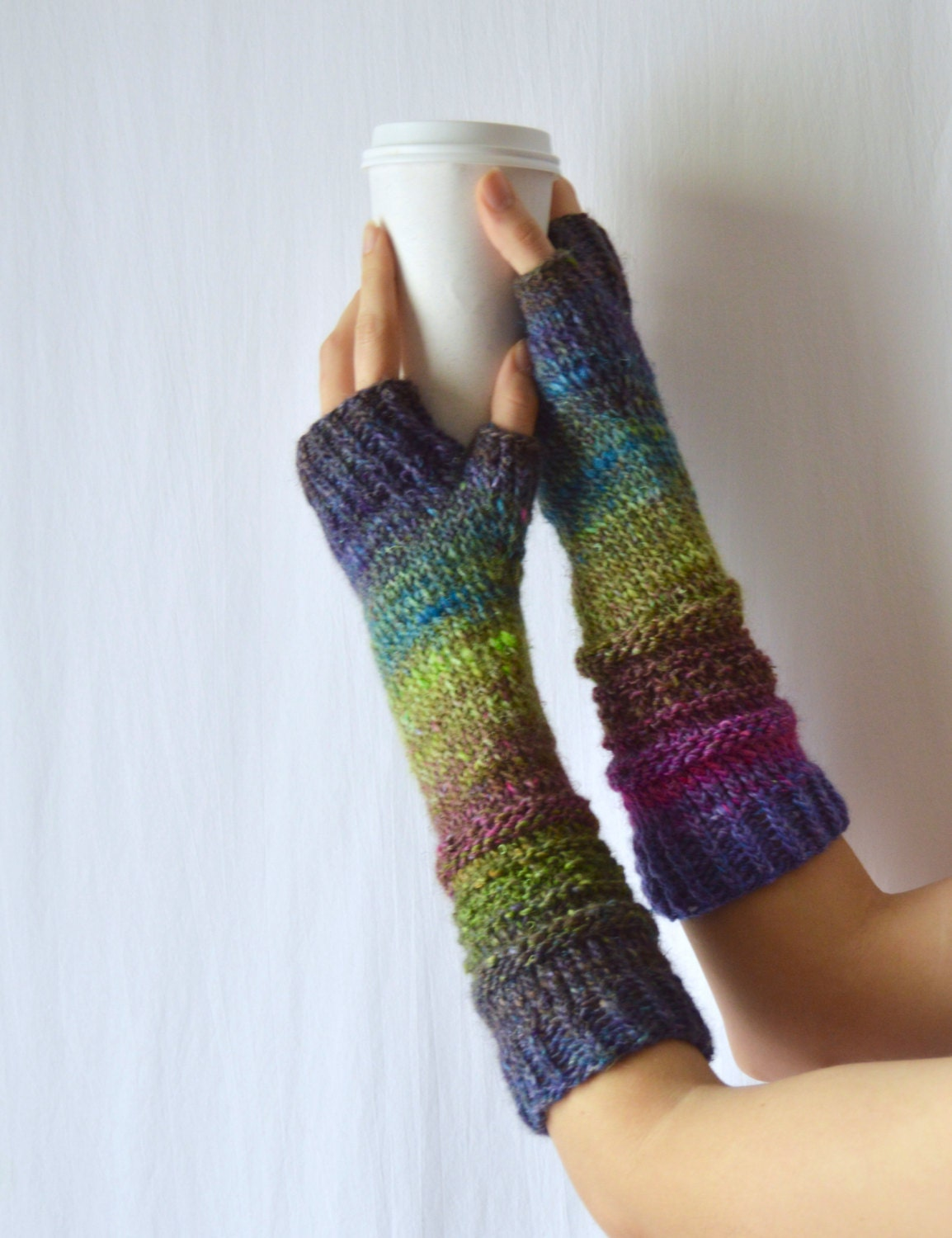 Knitted Arm Warmers Long Silk Hand Warmers Purple Texting