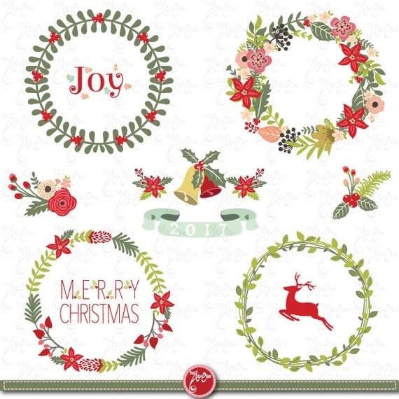Items Similar To Christmas Wreath Clip Art Quot Christmas