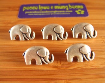 Metal Elephant Button with Shank Antique Silver Coloured Sewing Buttons for Clothing Leather Wrap Bracelets Jewellery etc