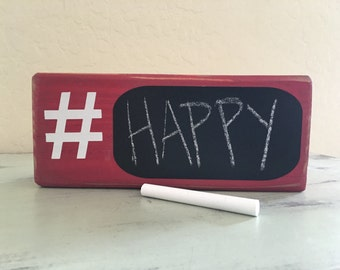 Hashtag Chalkboard Red Wood Sign Home Decor Gifts Under 15 Gift Idea Room Decor Fun Gift Idea Wooden Blocks Hashtag Chalkboard Sign Decor