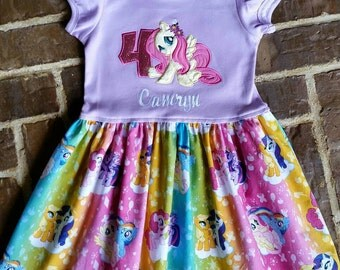 Girls Pony Fluttershy Dress with Name and Birthday Number