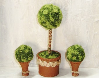 1:12 scale 3 Dollhouse topiaries