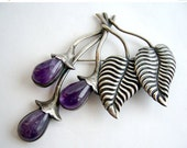 Valentines Day Sale 1950's  Mexican Sterling Silver + Amethyst Vining Berry Brooch