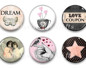 Love Magnets, Button Magnets, Fridge Magnets, 1 1/4 inch, Best friends gift, Thank You Gift, Hostess Gift, SET OF 6, Love.