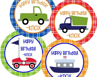 Set of 12 Personalized Gift Tags-Transportation Design