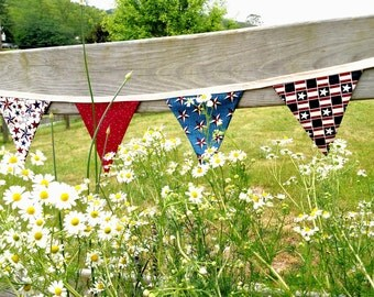 Patriotic Bunting Pennant Banner, Stars and Stripes Pennant Banner, 4th of July Pennant Banner, USA Flag Banner, 4th of July Decoration