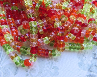 Tropical Passion  Mix Faceted Flat Rondelle Czech Beads, 50 Beads - Item 3304