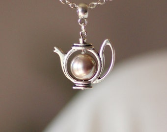 Gray Pink Pearl Teapot Pendant, Teapot Pendant, Pearl Teapot Pendant,Teapot Necklace,Teapot Jewelry,Cute Jewelry,For Tea Lovers,Swarovski