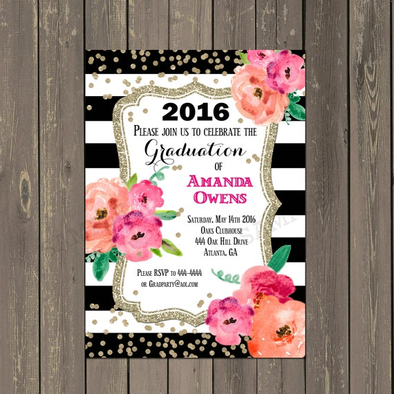 Black and White Graduation Invitation Black & White Stripe