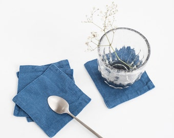 Set of 4 Blue Stone Washed Linen Coasters