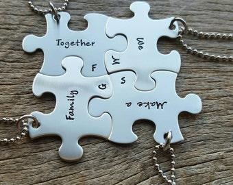 Personalized Hand Stamped set of 4 Puzzle Piece Necklace Set Together We Make a Family  Customizable Necklace Blended Family