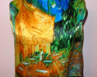 Gorg Vtg Silk Scarf Van Gogh Cafe Terrace at Night Novelty Excellent Condition 20 Inches by 20 Inches Square