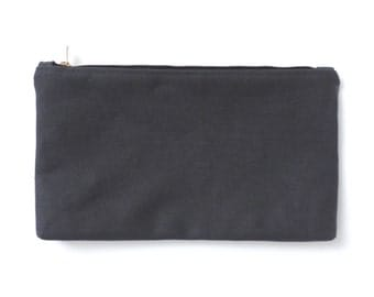 Canvas Zipper Pouch Cosmetic Bag Clutch Purse Gray