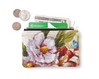 Floral Wallet Coin Purse Zipper Pouch Linen