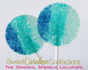 Blue/Teal/Light Blue Lollipops, Hard Candy Lollipops, Candy Lollipop,Sparkle Lollipops, Lollipops, Sweet Caroline Confections, -Set of Six