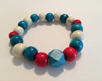 Red, White and Blue Wood Bracelet