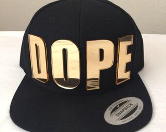 DOPE 3d custom GOLD mirrored acrylic snapback