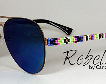 Beaded Sunglasses Blue Aviators