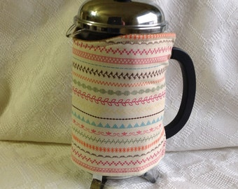 10% Off! Keep It Hot!  French Press Cosy | Stitch Sampler  Print (Ready to Ship)