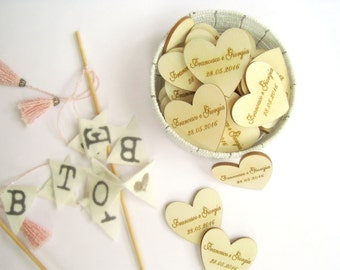 Personalized 4cm Engraved Name Wooden Hearts Gift Tags Wedding Decoration Bridal Shower Pack of 30 / 50 / 80 / 100 / 150