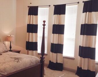 Custom Black and Cream Striped Curtains, Stripes, Color Blocked, Nautical , Nursery Curtains, Black Striped, Katie Spade