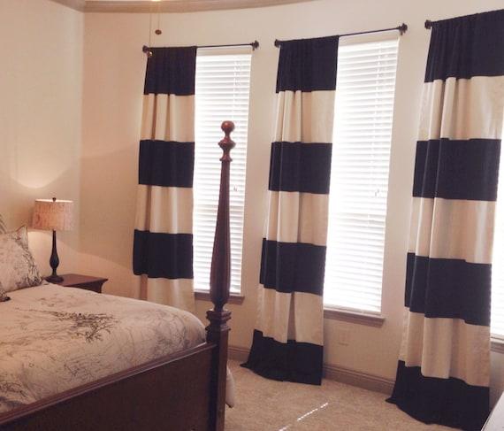 Custom Black And Cream Striped Curtains Stripes Color