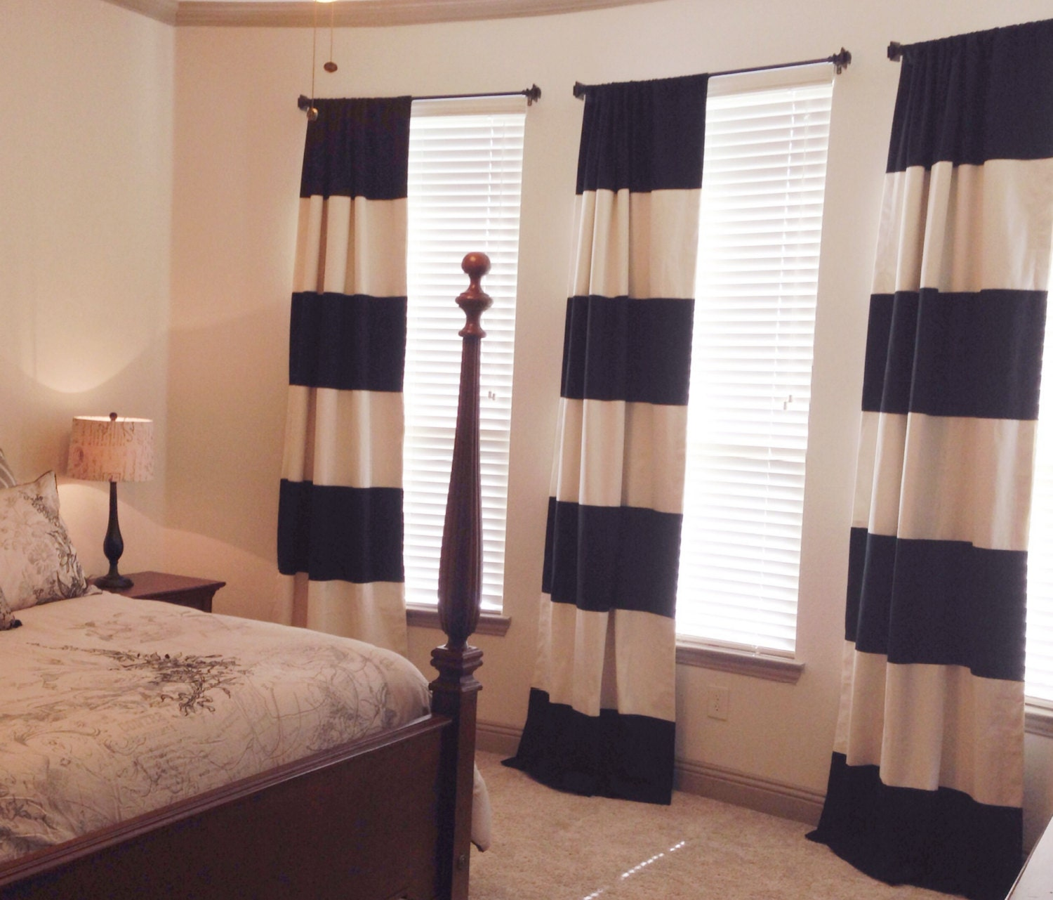 Custom Black And Cream Striped Curtains Stripes Color