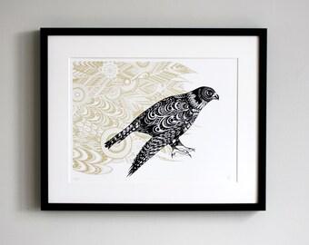 Peregrine falcon print - bird of prey screen print - hand printed - original screen print - bird art - bird wall art