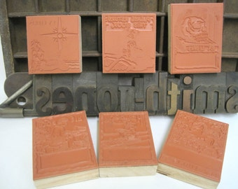 Rubber Stamp Print Block Choice of 6 Bookplate Designs Ex Libris - Custom Rubber Stamp - Scrapbooking - Bookplates - Mounted Stamps