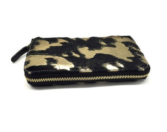 Black golden women wallet large wallet genuine leather women wallet high quality cow leather