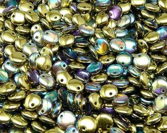 50pcs Lentil Beads 6mm Czech Pressed Glass, Crystal Golden Rainbow (LT021)