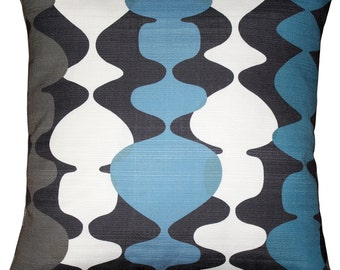Lava Lamp Charcoal Blue 19x19 Throw Pillow