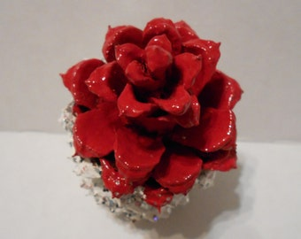 Pine Cone Art - Red Rose, A Romantic Gift For Any Occasion