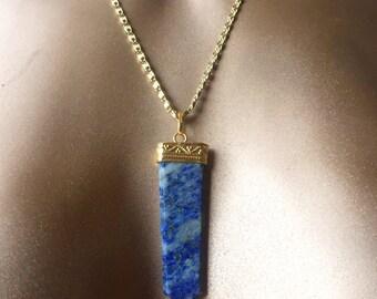 Lapis Lazuli Flat Point Necklace - Healing Stone/ Crystal jewelry - Gemstone Jewelry