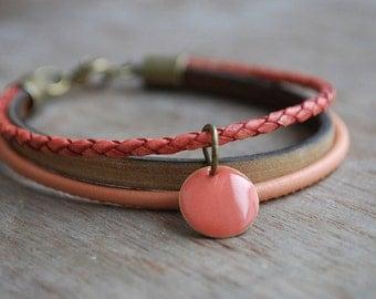 Layering leather bracelet for women * Corail *  boho, coachella inspired