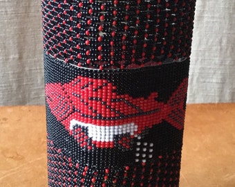 Vintage Native Pacific Northwest Indian Beaded Bottle, Spawning Salmon