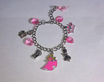 Handmade Adjustable Bracelet with DISNEY PRINCESS AURORA Sleeping Beauty Inspired charms A
