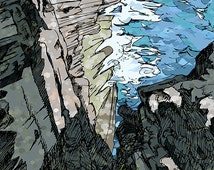 Orkney landscape, sea cliffs, gift for Orcadian, gift for Scot, Scottish landscape, seascape, blue and grey print, art print, pen and ink