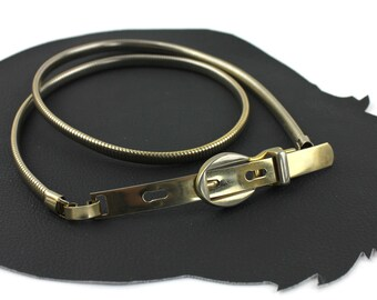 Thin Gold Metal Elastic Belt with Gold Belt Buckle