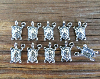 Sterling Silver Turtle charms 10mm x 13mm (Lot of 4 or 10 pieces) (.925) -Destash