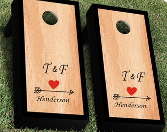 Arrow with Heart Wedding Cornhole Decal Set | Set of 2 | Bride and Groom CornHole Sticker | Personalized Wedding Cornhole Decal Corn Hole